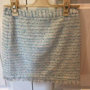 Alice & Olivia blue tweed skirt